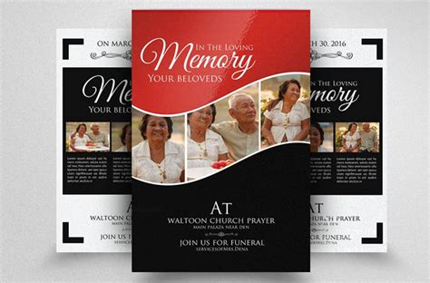 funeral program flyer templates  premium psd