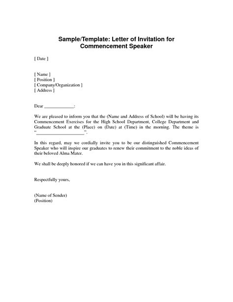 invitation letter guest speaker graduation ceremony