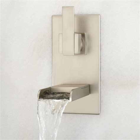 wall mounted bathroom faucets brushed nickel willis wall mount bathroom waterfall faucet bathroom