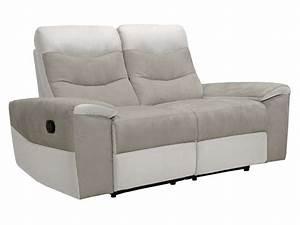 Canapé fixe relaxation manuel 2 places en tissu FOSTER