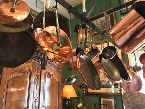 kitchen ceiling mounted pot rack  antique copper pots pans cookware  sale  stdibs