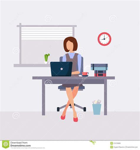 dans le bureau femme travaillant dans le bureau illustration de vecteur