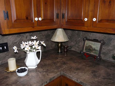 Kitchen Countertops With Backsplash by Kitchen With Wooden Cabinets And Laminate Backsplash Also