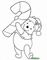 Coloring Christmas Pages Disney Winnie Cane Pooh Disneyclips Candy sketch template