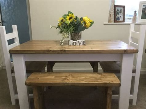 shabby chic kitchen table and bench rustic shabby chic dining table 2 chairs and 2 bench