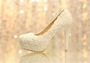 thick heel wedding shoes lace chunky heel closed toe with pearl wedding bridal shoes onesimplegown