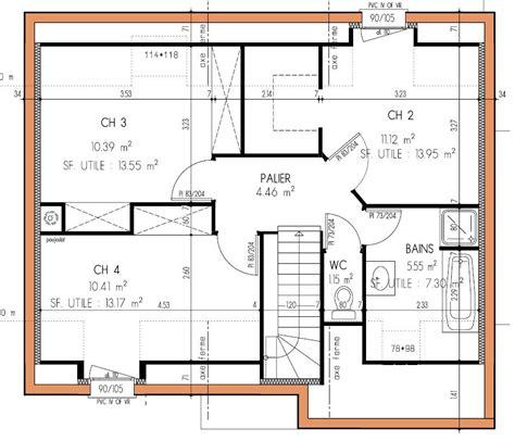 plan maison 3 chambres plan maison duplex 4 chambres 3 lovely etage gratuit plain