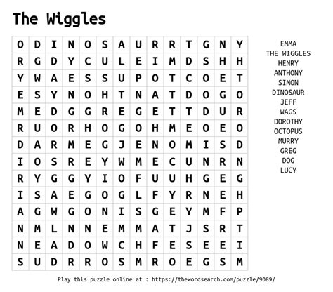 word search   wiggles