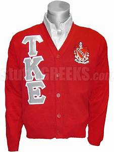 tau kappa epsilon greek letter cardigan with crest red With greek letter sweaters