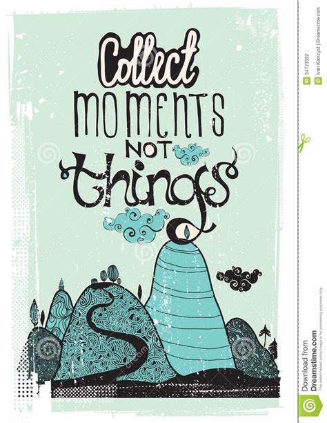 not shabby phrase motivational poster collect moment not things stock vector image 34723322