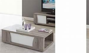 Table Basse Blanc Laqué Et Bois : table basse moderne couleur bois et laqu blanc fedora ~ Teatrodelosmanantiales.com Idées de Décoration