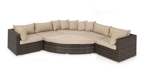 Landscape Big Sofa by Curved Rattan Corner Sofa Set Cappuccino Cushions