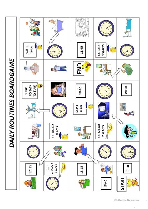 daily routines  time boardgame english esl worksheets