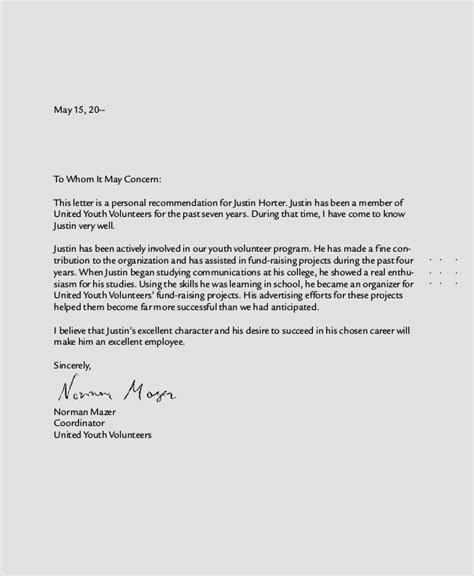 personal recommendation letter template 8 sle personal reference letters sle templates