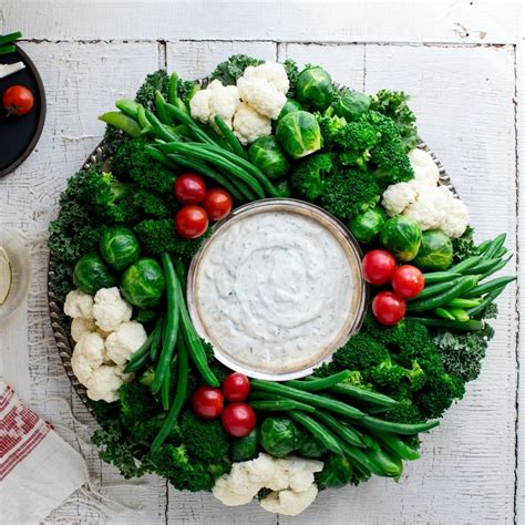 eatingwell crudite vegetable wreath  ranch dip recipe