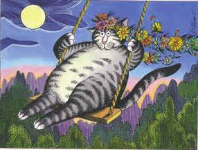 kliban cat kliban cat on swing at moonlight mailbox happiness angee