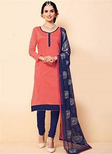 Buy Light pink plain cotton semi stitched salwar with