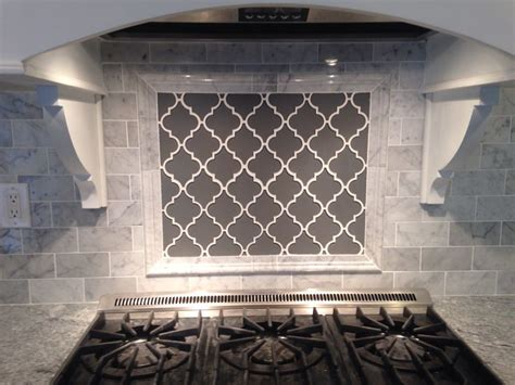 grey moroccan lattice backsplash accent range