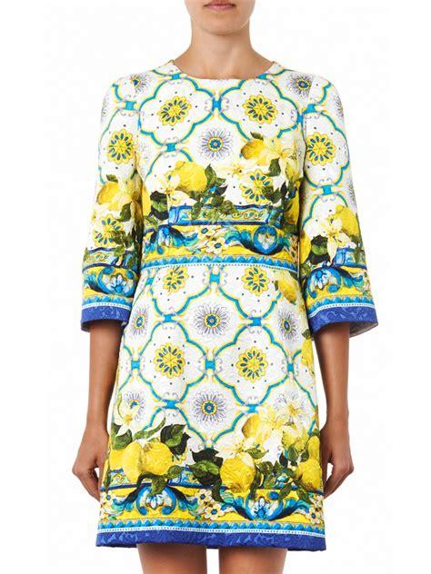 lyst dolce gabbana sicilian lemonprint jacquard dress