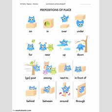 Prepositions Prepositions Of Place Worksheet