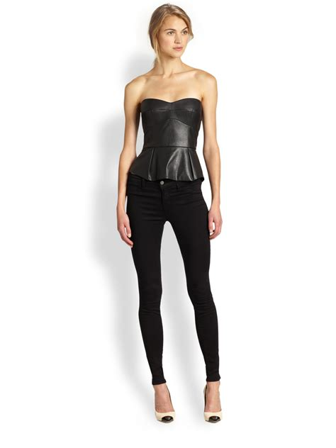 faux leather panel lyst bcbgmaxazria faux leather peplum bustier top in black