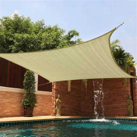 Backyard Sun Shades by Sun Shade 12x12 Square Top Sail Beige Sand For Deck
