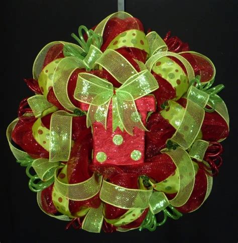 red lime green christmas wreath poly mesh deco by