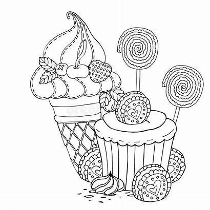 Coloring Cake Ice Cream Cupcake Candy Boyama