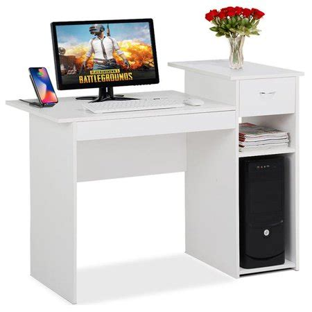 white compact computer desk  drawer  shelf small