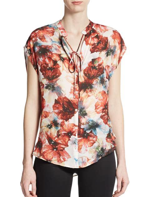 haute hippie blouse haute hippie floral silk blouse in multicolor multi lyst