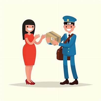 Parcel Postman Woman Vector Illustration Clipart Gives