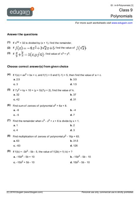 Grade 9 Math Worksheets And Problems Polynomials  Edugain Usa
