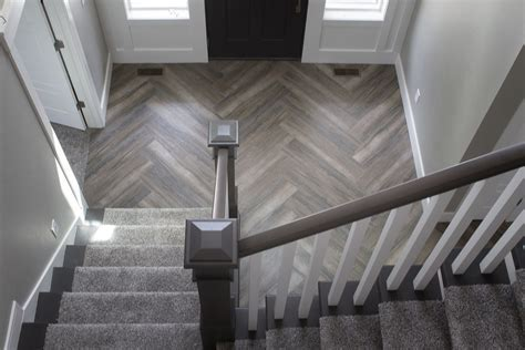 Herringbone Wood Texture Tile Floor Installation   Kitchen