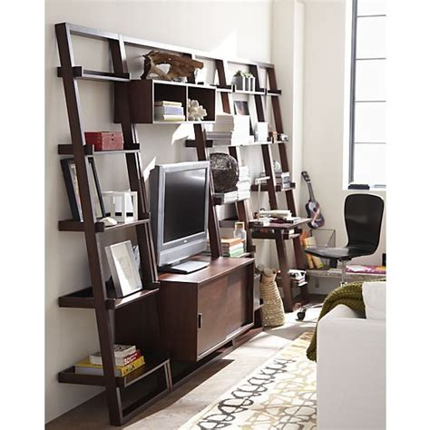 crate and barrel leaning bookshelf desk tvs bookcase desk and bookcases on