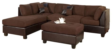 poundex f7615 chocolate leatherette microfiber sectional