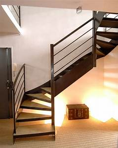 Escalier 4 Marches : dt24 escalier en acier contemporain avec marches pour b ton 2 4 tournants l 39 art de l ~ Melissatoandfro.com Idées de Décoration