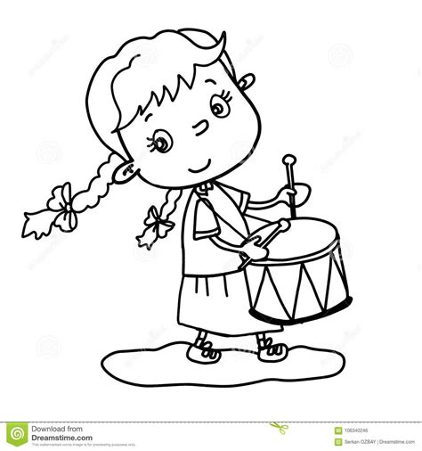 cute  girl playing drum vector illustration