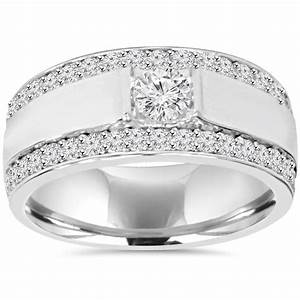 185ct men39s diamond wedding ring 10k white gold 95mm for Mens wedding rings with diamonds white gold