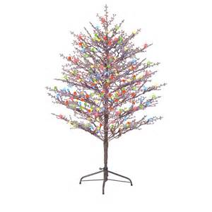ge 5 ft indoor outdoor brown branch winterberry pre lit artificial tree with multicolor led