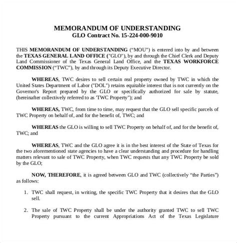 memorandum  understanding templates  google