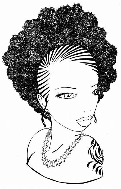 American Braids Afro Coloring Illustration Pages Hair