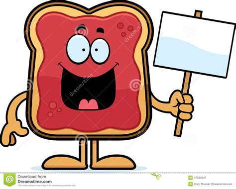 Cartoon Toast With Jam Sign