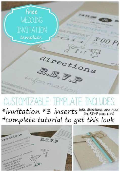 customizable wedding invitation template  inserts