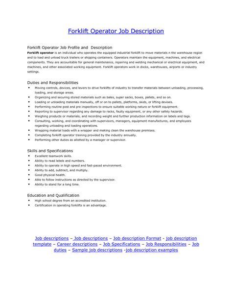 Forklift Driver Description For Resume doc 1837 sle resume for truck driving 23