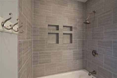 gray tile horizontal contemporary bathroom