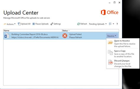 Office Upload Center by Unable To Resolve Office Upload Center Upload Failed