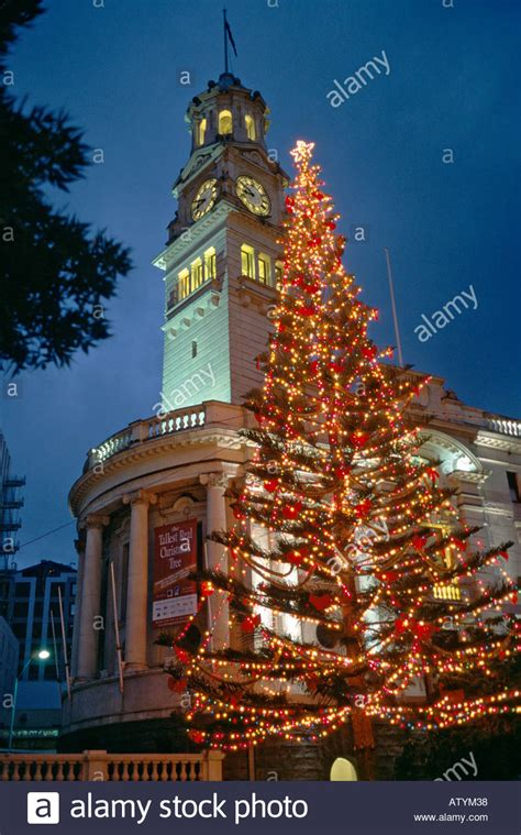 view of auckland city center at night in december with