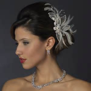 wedding hair accessories silver white feather rhinestone bridal hair bridal hair accessories