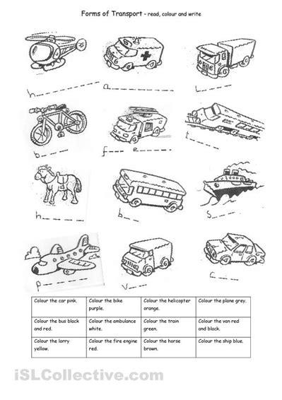 Transport Worksheet For Spelling And Colouring Practice  Transportation Theme Pinterest