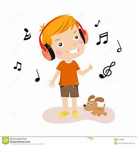 Kids Listening To Music Clipart - ClipartXtras